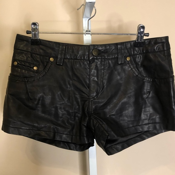 Free People Pants - Free People Black Faux Leather Shorts (2)